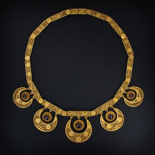 Antique Gold Filigree Garnet Necklace - 2