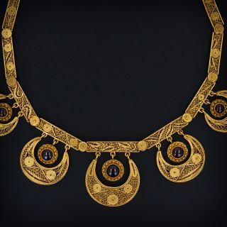 Antique Gold Filigree Garnet Necklace