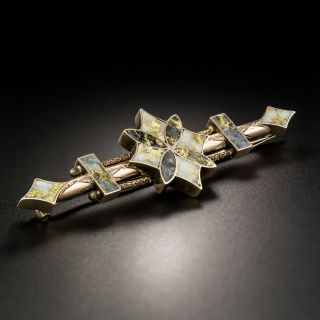 Antique Gold In Quartz Brooch - 1