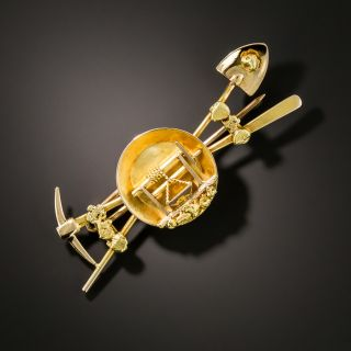 Antique Gold Mining Pin - 2