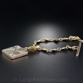 Antique Gold Nugget Watch Chain with Gold-in-Quartz Fob