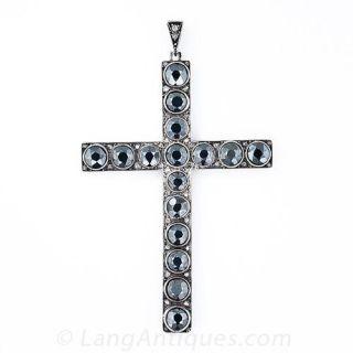 Antique Hematite and Rose-Cut Diamond Cross