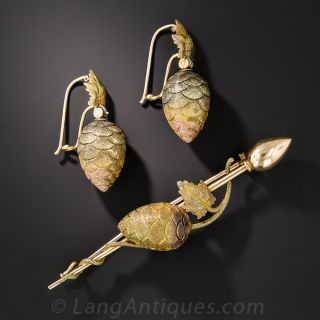 Antique Hops Flower Brooch and Earring Set