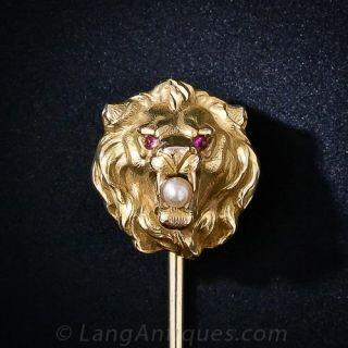 Antique Krementz  Lion Stickpin