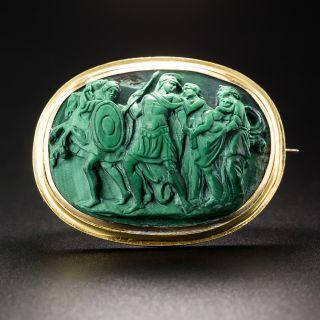 Antique Malachite Cameo Brooch