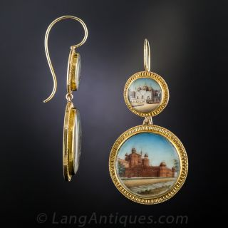 Antique Miniature India Landmark Earrings