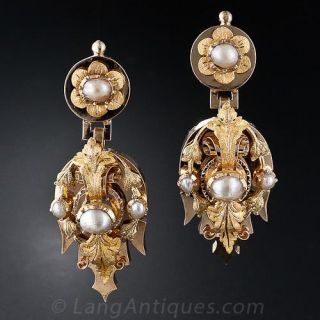 Antique Natural Pearl Drop Earrings Circa 1890 - 1