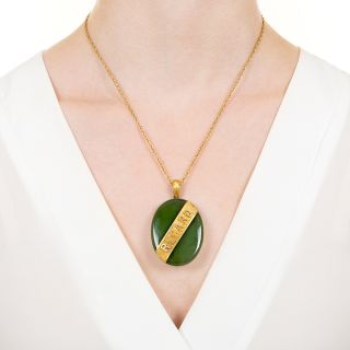 "Antique Nephrite 'REGARD"" Pendant Locket"
