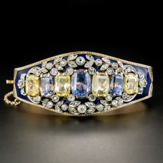 Antique No-Heat Blue and Yellow Sapphire and Diamond Cobalt Enamel Bangle Bracelet  - 2