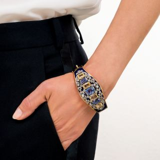 Antique No-Heat Blue and Yellow Sapphire and Diamond Cobalt Enamel Bangle Bracelet