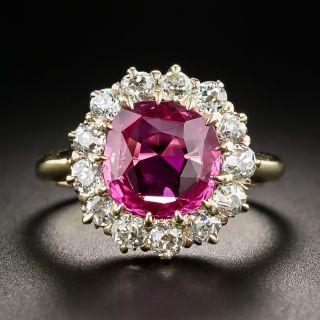 Antique Pink Sapphire Diamond Halo Ring - 1