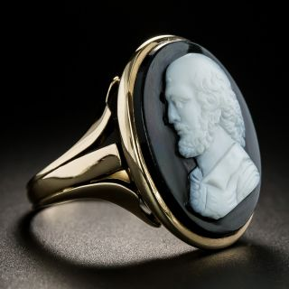 Antique Onyx Cameo Ring, Circa 1898
