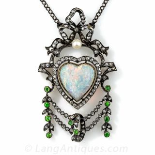 Antique Opal, Diamond and Demantoid Garnet Necklace - 1