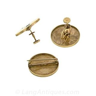 Antique Pin and Earring Suite