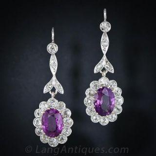 Antique Pink Sapphire Diamond Drop Earrings