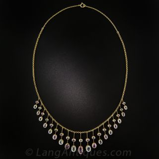 Antique Pink Topaz and Aquamarine Fringe Necklace