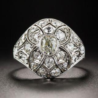 Antique Platinum and Diamond Dome Ring