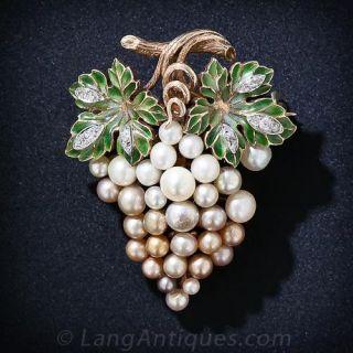Antique Plique-a-Jour Enamel and Natural Pearl Grape Cluster Brooch - 1