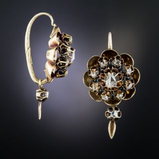 Antique Rose-Cut Diamond and Enamel Earrings