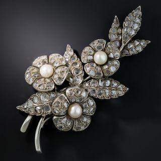 Antique Rose-Cut Diamond Floral Brooch