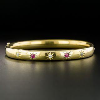 Antique Ruby and Diamond Bangle Bracelet, Circa 1900 - 2