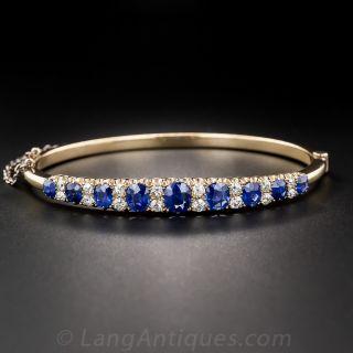 Antique Sapphire and Diamond Bangle Bracelet