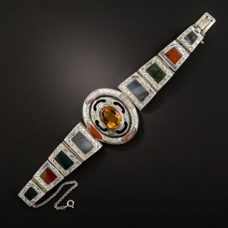 Antique Scottish Agate and Citrine Bracelet