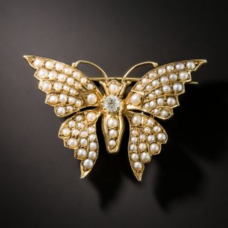 Antique Seed Pearl and Diamond Butterfly Pin