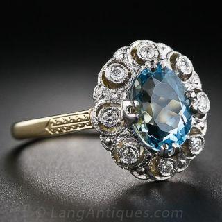 Antique Style Aquamarine and Diamond Ring