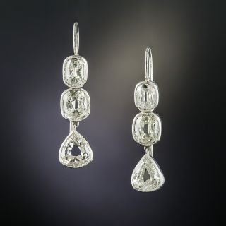 Antique Pear-Shaped and Cushion-Cut Diamond Earrings - 2.70 Carats - 2
