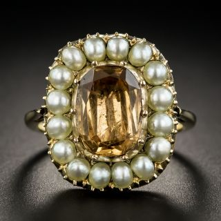 Antique Topaz and Pearl Ring - 1