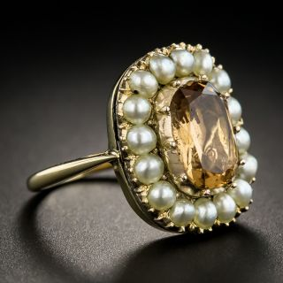 Antique Topaz and Pearl Ring