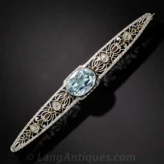 Aquamarine and Diamond Bar Brooch