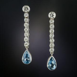 Aquamarine and Diamond Dangle Earrings - 3
