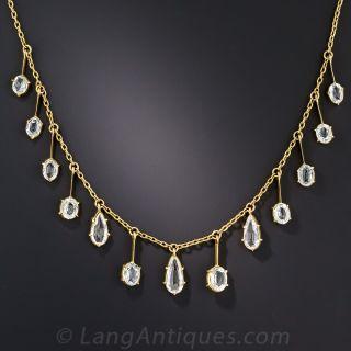 Aquamarine and Rock Crystal Quartz Fringe Necklace