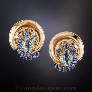 Aquamarine and Sapphire Retro Earrings