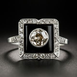 Art Deco 1.00 Carat Diamond Onyx Platinum Ring - 2