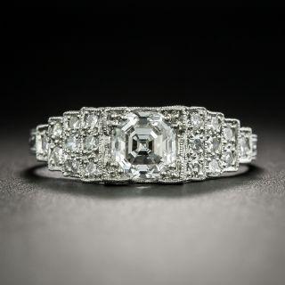 Art Deco 1.01 Carat Asscher-Cut Diamond Engagement Ring - GIA E VS1 - 3