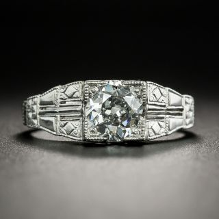 Art Deco 1.01 Carat Diamond Engagement Ring - GIA E VVS2  - 2