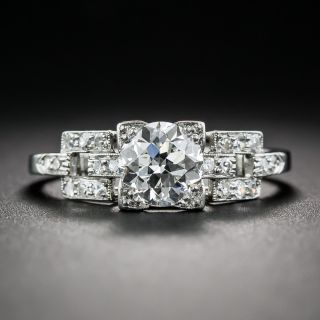 Art Deco 1.01 Carat Diamond Engagement Ring - GIA F VS1 - 1