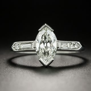 Art Deco 1.03 Carat Marquise-Cut Diamond Engagement Ring - GIA I VVS1 - 2