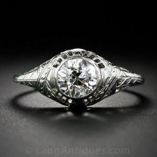1.10 Carat Diamond Filigree Engagement Ring - 1