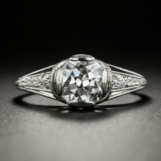 Art Deco 1.10 Carat Diamond Solitaire Engagement Ring - GIA F SI2  - 3
