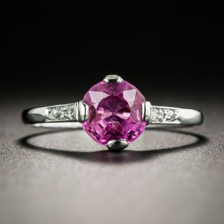 Art Deco 1.12 No Heat Pink Sapphire and Diamond Ring - GIA - 2