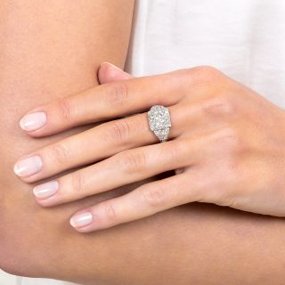 Art Deco 1.13 Carat Diamond Platinum Engagement Ring - GIA I VS2