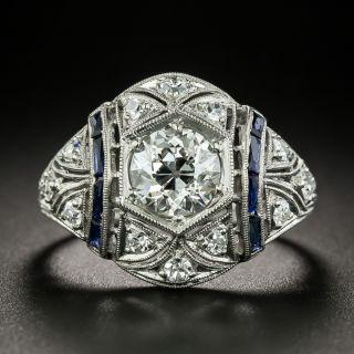 Art Deco 1.18 Carat Diamond and Calibre Sapphire Engagement Ring - GIA H SI1 - 2