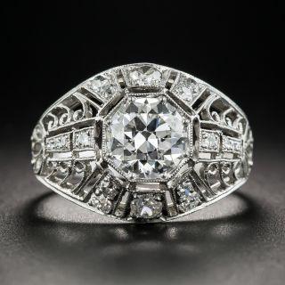 Art Deco 1.22 Carat Diamond Platinum Engagement Ring - GIA H SI1 - 1
