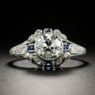 Art Deco 1.26 Carat Diamond and Calibre Sapphire Engagement Ring - 3