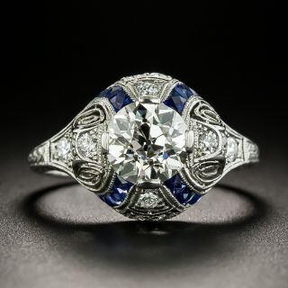 Art Deco 1.31 Carat Diamond and Sappphire Ring - GIA K VS1 - 3
