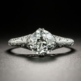 Art Deco 1.32 Carat Diamond Filigree Solitaire Ring - GIA I VS1 - 2